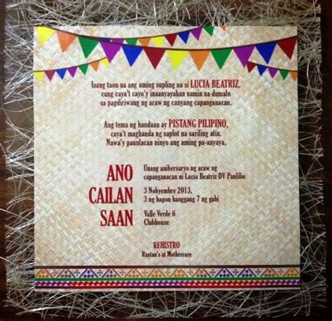 themes meaning in tagalog lucia s pista sa nayon themed party invites philippine