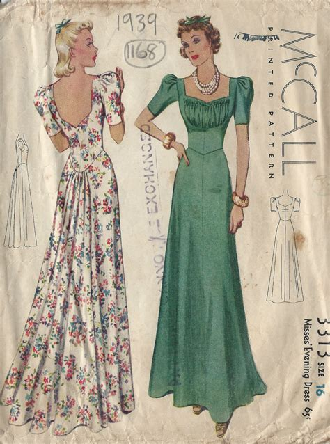 pattern for vintage dress 1939 vintage sewing pattern evening dress b34 1168 ebay