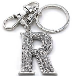 clear name alphabet initial letter a z car keychain key