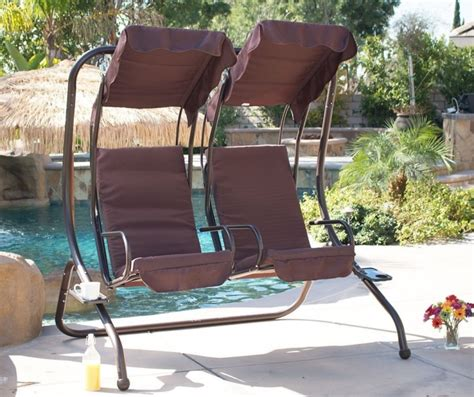 swing set patio outdoor patio swing set 2 person armrest steel seat padded