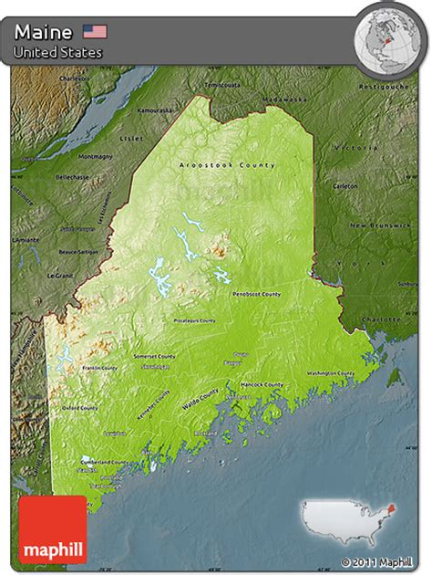 maine physical map free physical map of maine darken