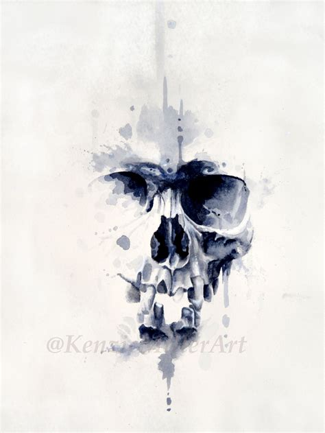 tattoo ink with charcoal watercolor skull painting by kenziemillerart mixed media