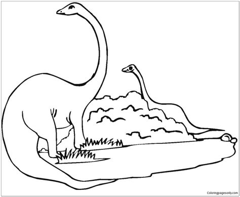 two diplodocus dinosaur coloring page free coloring