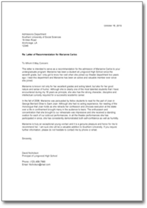 Recommendation Letter For Student High School Letter Of Recommendation For A High School Student Form To