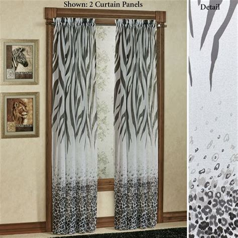 print curtains kenya safari black animal print semi sheer curtain panels