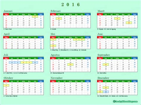 printable calendar 2016 indonesia kalender 2016 image king