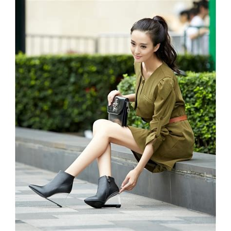 black leather korean transparent wedge high heel ankle boots