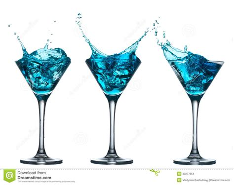 drink splash blue alcohol cocktail set with splash on white stock photo