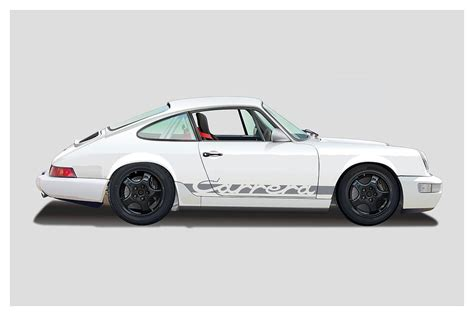 porsche 964 white porsche 964 carrera rs white digital art by alain jamar