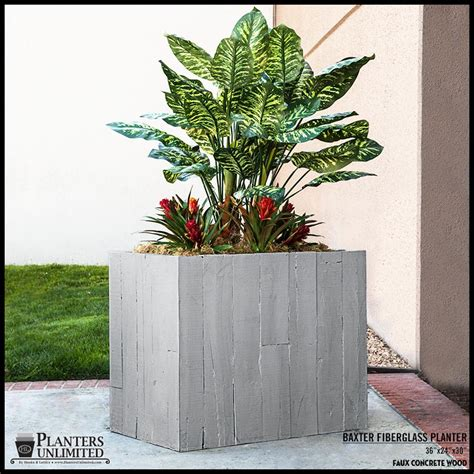 faux concrete planters faux board formed concrete outdoor planters planters unlimited
