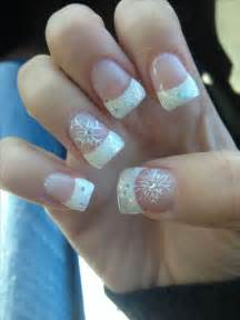 cute acrylic sparkle french tips with snowflake winter