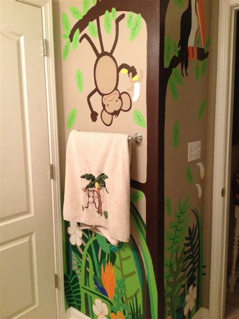monkey bathroom kids monkey bathroom i painted walls to match curtain