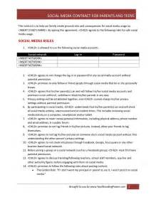 social media contract for parents and teens