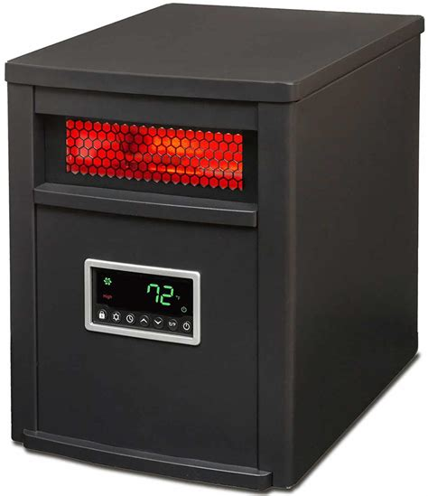 large room heater lifesmart 6 element black metal cabinet large room infrared heater
