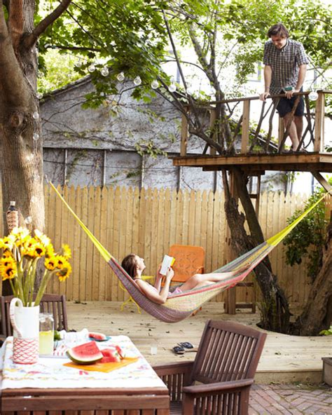 Backyard Tree Hammock Backyard With A Fence A Hammock And Tree House These Are