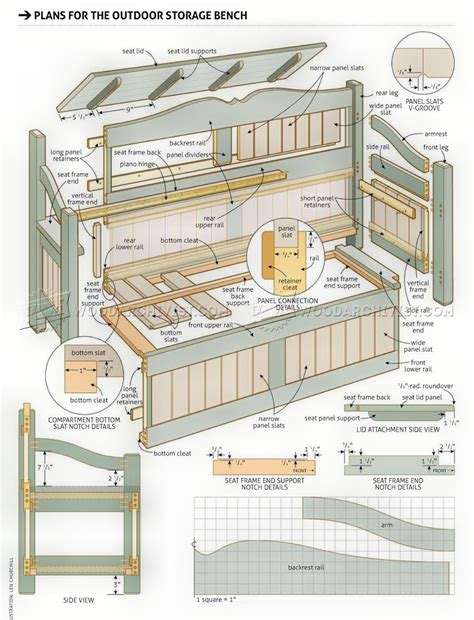 plans for storage bench outdoor storage bench plans woodarchivist