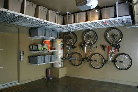 interesting ceiling garage storage ideas with taupe wall