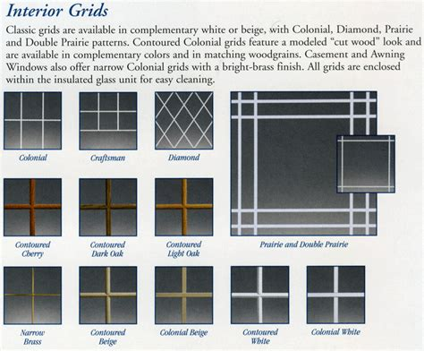grid pattern types window grids colonial style windows names for window grids