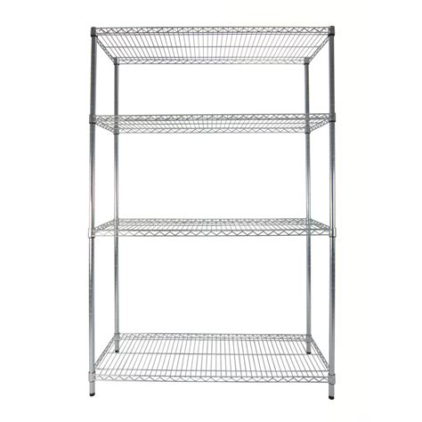 lowes metal shelves shop style selections 5 ft 11 77 in h x 3 ft 11 79 in w x 1 ft 6 in d 4 tier steel freestanding