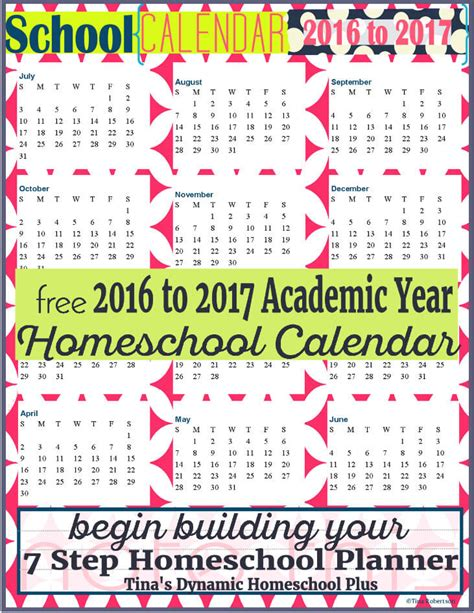 Homeschool Calendar Free Homeschool Academic Year Calendar 2016 To 2017