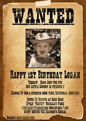 Western Invitations And Sles For A Wanted Poster Invite Wanted Birthday Invitation Template