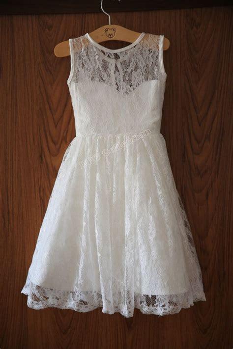 ivory lace flower girl dress sweetheart neckline knee