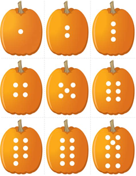 printable pumpkin number cards pumpkin concentration number dots fuel the brain