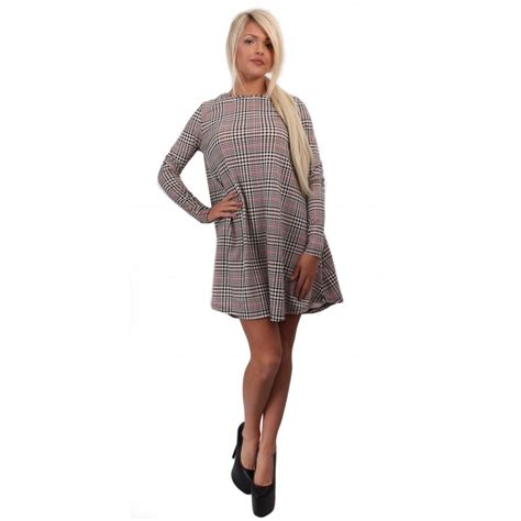 swing clothing uk long sleeve dogtooth checked swing dress