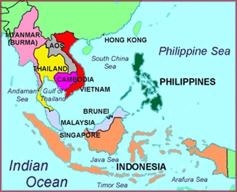 map of southeast asia with country names of south east asia