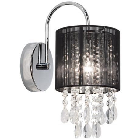 crystal wall sconce bathroom black line shade 12 quot high chrome crystal wall sconce