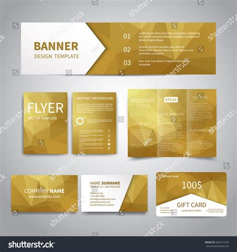 business card brochure template banner flyers brochure business cards gift stock vector