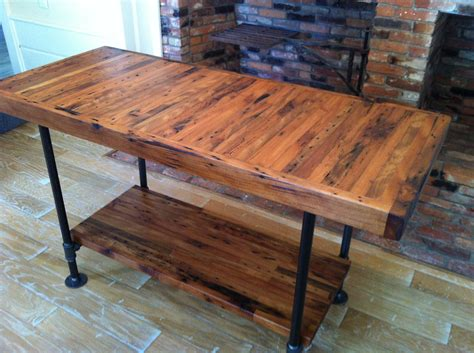 Wood Legs For Kitchen Island Kitchen Island Industrial Butcher Block Style Reclaimed Wood And The Legs And Frame Are 1