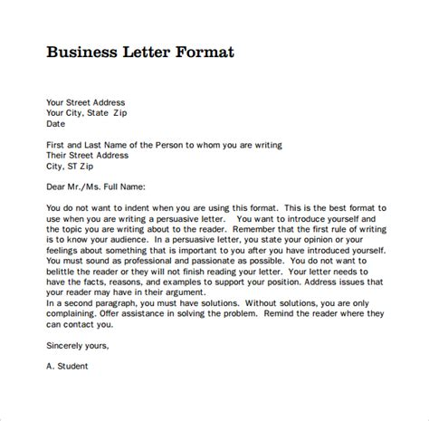 formatting a business letter proper standard formal sles of business letter format