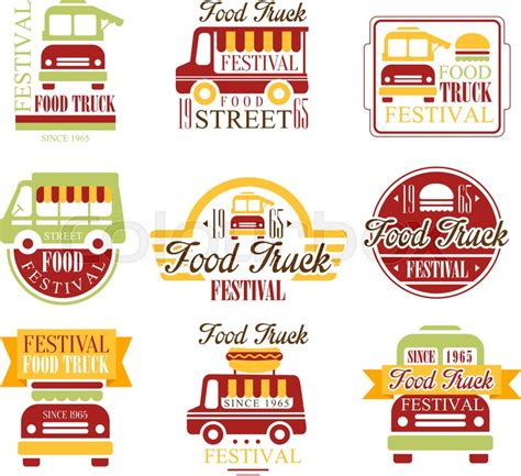 Food Truck Cafe Street Food Promo Signs Set Of Colorful Vector Design Templates With Vehicle Food Signs Template
