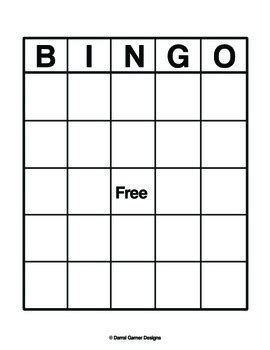 Bingo Card Template 5x5 by Blank Bingo Sheet By The 34 Designs Teachers Pay Teachers