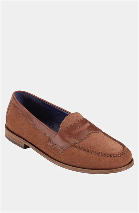 suede cole haan loafers cole haan pinch loafer in brown for rust suede