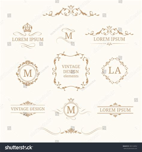 Wedding Monogram Border by Floral Monograms Borders Design Templates Stock
