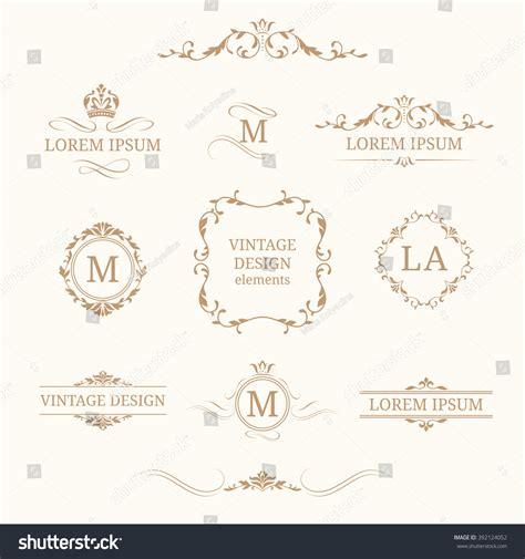 wedding logo border floral monograms borders design templates stock