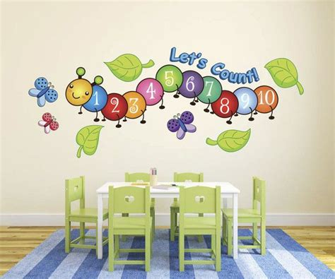 Fun Kitchen Decorating Themes Home Cute Centipede Number Count Butterflies Wall Decals From