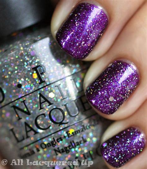 Glitter Nail Polishes by Purple Glitter Nails Opi And Glitter On