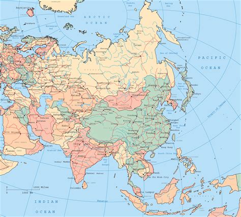 asia map with cities maps of asia and asia countries political maps