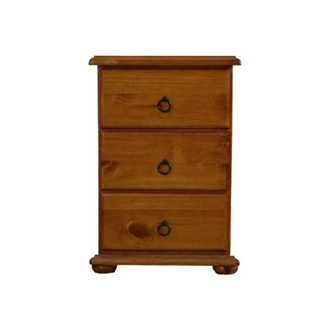 Wood Bedside Table Wooden 3 Draw Bedside Table In Honey Brown Pine Buy