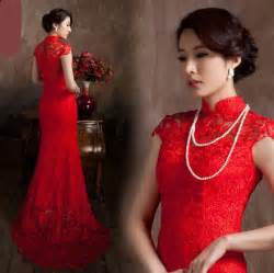 Lace long cheongsam red bride wedding dress backless dress cheongsam