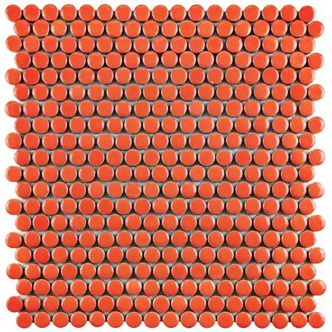 Merola Tile Quasar Penny Round Orange 11 1/4 in. x 11 3/4