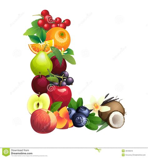 letter l fruits letter l composed of different fruits with leaves stock