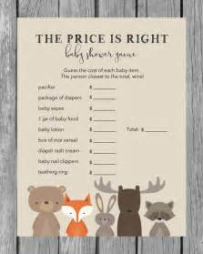 woodland baby shower the price is right baby shower