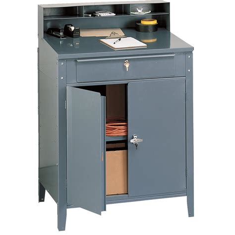 The Desk Shop Lockable Steel Shop Desk W Cabinet On Popscreen