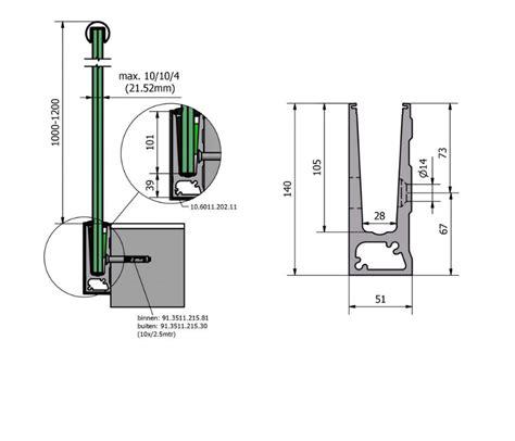 Profilé Aluminium Garde Corps 4677 usinage profil 195 169 aluminium pour garde corps en verre