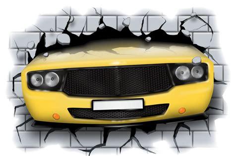 Sticker Stiker Musholla Uk 19 5 Cm X 4 5 Cm T1910 3 3d car crashing through wall view wall sticker mural