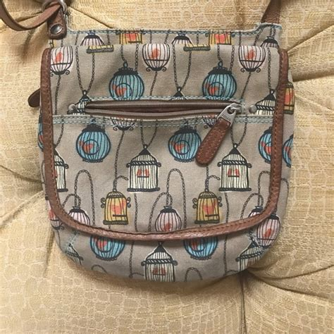 Fossil Kanvas fossil fossil canvas leather bird cage crossbody purse